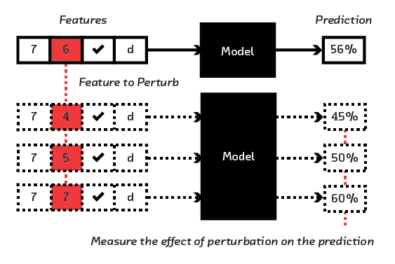 FIGURE 3.14  By perturbing feature inputs, a local understanding of the model can be built up.