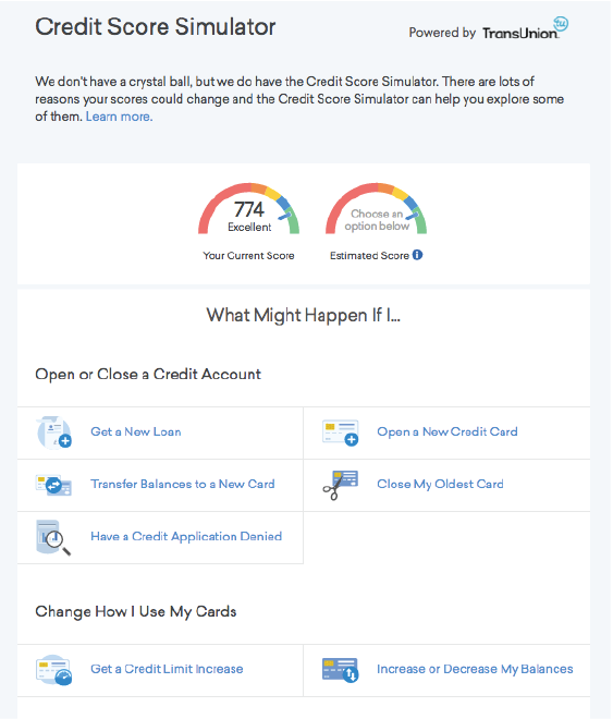 FIGURE 3.15 Credit Karma lets users see how changes affect their credit score.
