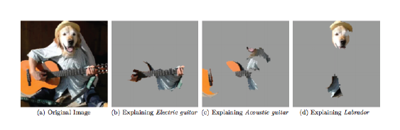FIGURE 3.18 LIME superpixel explanations of the classification of an image of a dog playing a guitar. Figure and example from LIME paper https://arxiv.org/abs/1602.04938.